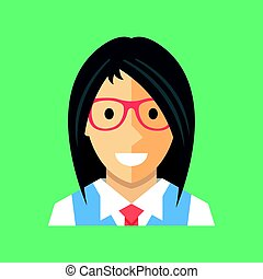 vector, vrouw, icon., businesswoman, de manager van het bureau, bankier, adviseur, avatar, profiel, concepts., schattig, vrouwlijk, karakter, met, lang, zwart haar, het voeren bril, hemd, vest, en, tie., moderne, plat, pictogram