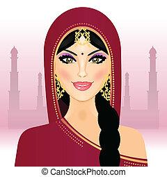 vector, vrouw, indiër, illustratie