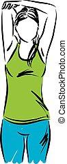 vector, vrouw stretching, illustratie, 2, fitness, oefeningen