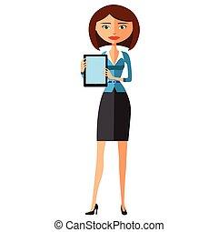 vector, vrouw, tablet, zakelijk, het tonen, belangrijk, iets, spotprent, illustration.
