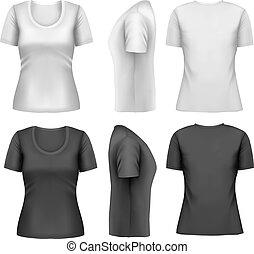vector, vrouwlijk, set, t-shirts., kleurrijke
