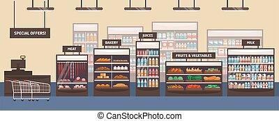 vector, vruchten, signboards., vlees, supermarkt, kruidenierswinkel, bakkerij, groentes, planken, illustration., products., winkel, voedingsmiddelen, melk, spotprent, plat, winkel, bijzondere , aisle., interieur, aanbiedingen