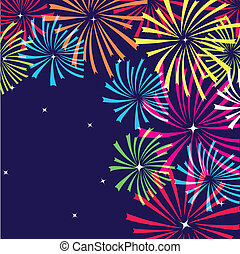 vector, vuurwerk, kleurrijke