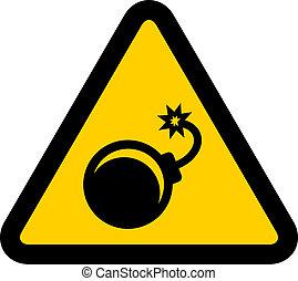 vector, waarschuwend, bom, meldingsbord