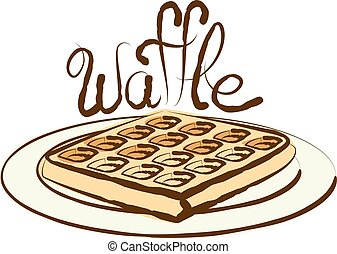 Vector Waffle - vector waffle with calligraphic inscription