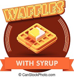 Vector waffle illustration or label for menu