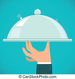 Vector waiter hand holding silver plate - concept in flat ...