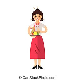 Vector Waitress with Peking Duck. Flat style colorful Cartoon illustration.