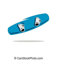 Vector Wakeboard Cartoon Illustration. - Blue Wakeboard with...