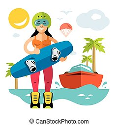 Vector Wakeboarding Woman. Flat style colorful Cartoon...