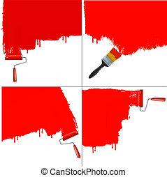 vector., wall., ローラー, 背景, 白, 絵, 赤