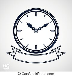 Vector wall clock with an hour hand on dial. High quality...