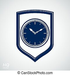 Vector wall clock with an hour hand on dial. Protection...