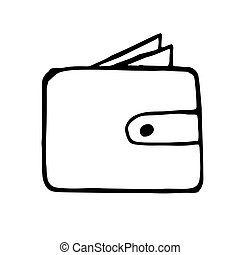 Vector wallet doodle drawing, hand drawn illustration