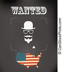 vector wanted poster with hipster man and usa flag
