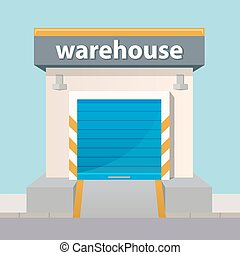 Vector warehouse building icon in flat style