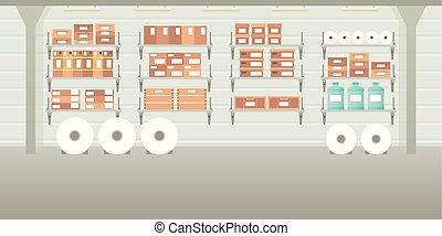 Vector warehouse hangar interior empty scene in flat style