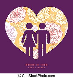 Vector warm day flowers couple in love silhouettes frame pattern invitation greeting card template