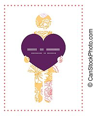 Vector warm day flowers woman in love silhouette frame pattern invitation greeting card template