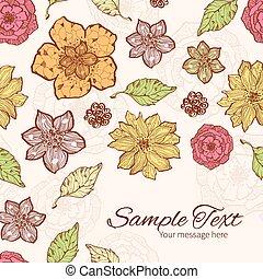 Vector warm fall lineart flowers frame corner pattern background