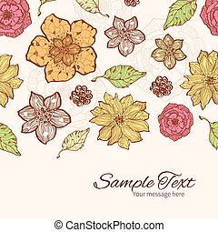 Vector warm fall lineart flowers horizontal border card template