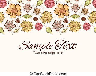 Vector warm fall lineart flowers horizontal border greeting card invitation template
