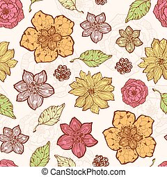 Vector warm fall lineart flowers seamless pattern background