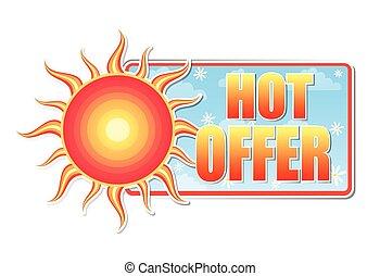 vector, warme, etiket, zon, aanbod