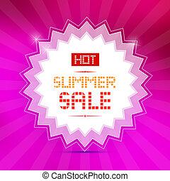 vector, warme, zomer, verkoop, titel, op, rooskleurige achtergrond