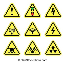 Vector warning, signal symbol and radiation sign set
