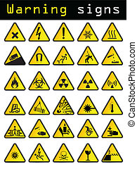 Vector warning signs  - Vector warning sign set of 30 pieces