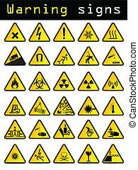 Vector warning signs  - Vector warning sign set of 30 pieces