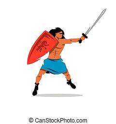 Vector Warrior man Cartoon Illustration.