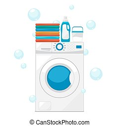 Vector Washing machine and wash clothes illustration