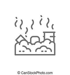 Vector waste landfill, air pollution line icon.