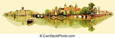 illustration panoramic amsterdam view