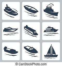Vector water crafts icons set