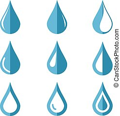 Vector water drop icons set on white background