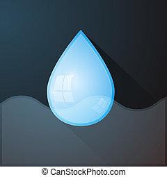 Vector Water Drop on Dark Background