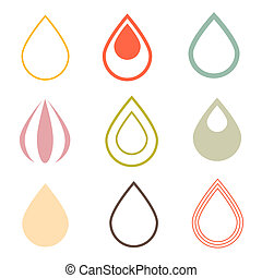 Vector Water Drops Icons Set in Retro Style