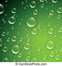 Vector Water Drops on a Green Background