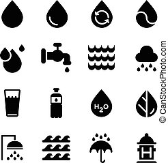 Vector water icons set on white background