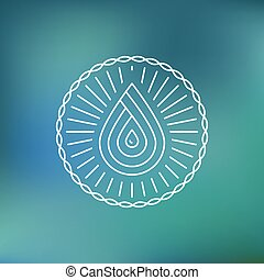 Vector water logo template in outline style on blue...