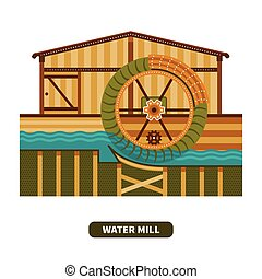 Vector water mill in flat style