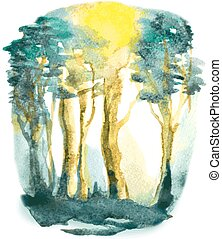 vector watercolor abstract illustration with forest trees