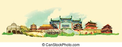 vector watercolor beijing city illustration
