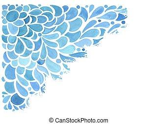 Vector Watercolor Blue Floral Pattern