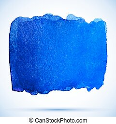 vector watercolor grunge background ultramarine paint stain with shadow