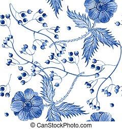 Vector watercolor blue texture pattern.