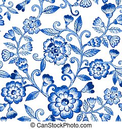 Vector watercolor blue texture pattern.